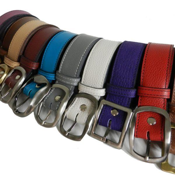 ceintures en cuir vachettes colorées