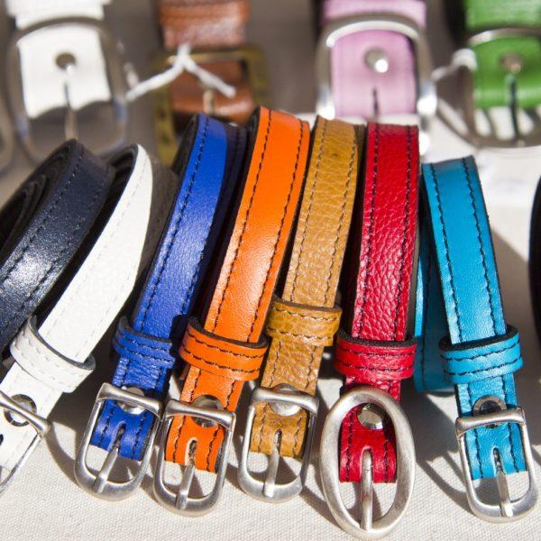 ceintures fines cuir coloré