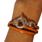 bracelet en cuir orange triple tour