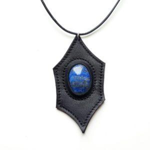 Collier cuir et Lapis lazuli