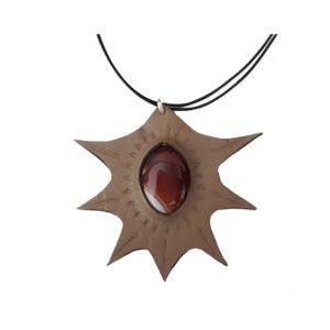 Collier cuir et pierre